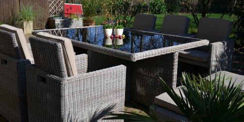 bomey Polyrattan Rattan Geflecht Garten Sitzgruppe Toscana XL in sand-grau Natur (Rundgeflecht 3mm) (Tisch 6 Sessel 3 Hocker) für 6 bis 9 Personen Bild 2*