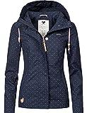Ragwear Damen Jacke Übergangsjacke Kapuzenjacke YM-Lynx Dots Dunkelblau Gr. S