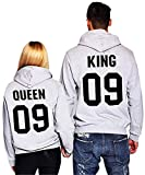 Minetom Couples Hommes Femme Sweat à Capuche Couronne KING QUEEN Impression Manches Longues Hooded Sweatshirt Pull Hoodie Tops Gris EU XL(Homme)