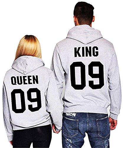 Minetom Moda Hombre y Mujer Pareja Impresión Corona KING & QUEEN Sudaderas con Capucha Manga Larga Jersey Camisa de Entrenamiento Pullover Hoodies Gris ES 36(Mujer)