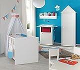 roba Komplett-Kinderzimmer 'Lotte', Babyzimmer Set gefräst weiß inkl. Baby- bzw. Kinderbett 70x140 cm, Wickelkommode & Kleiderschrank
