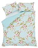 Superb Baumwolle Einzeln Rosa Blau Rosen Blumen Wende Billig Bettdecke Schick Set