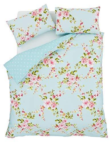 Rose Bettdecke (Superb Baumwolle Einzeln Rosa Blau Rosen Blumen Wende Billig Bettdecke Schick Set)