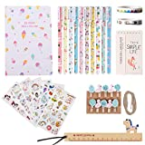 Tumao cancelleria kawaii Set di cancelleria per unicorno-taccuino Penna ad acquerello Carta Pinze Adesivo unicorno Righello Nastro decorativo
