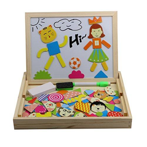 Tribe Giocattoli in Legno Puzzle Magnetica Stile Scuola Lavagna 2 in 1 Educativi Jigsaw Costruzioni Giochi e Gioco da Tavolo per Bambini Bambino Bimba da 3 4 5 Anni