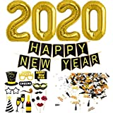Decoracion Nochevieja 2020. Banderinas Feliz Año Happy New Year + Globos Gigantes + Accesorios de Fotomaton + Confeti para Fiesta de Víspera de Año