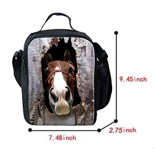 Meijunter Animal Horses All'aperto Refrigeratore Termico Scuola Picnic Borsa per il pranzo Tote Box Container With Bottle Pocket Per Adulti And Bambini #05
