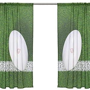 Orediy Vorhänge aus Voile, transparent, Rugbyball auf Gras, 40%...