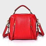 Umhängetasche Messenger Bag Handtasche Dame Erste Schicht Leder Boston Tasche Stil, Geeignet Für Den Einkauf, Datierung, Einkaufen, Alltag,Red,28 * 20 * 14Cm