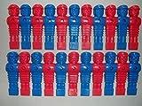 22 Kickerfiguren im Löwen-Design, rot und blau, 16mm.