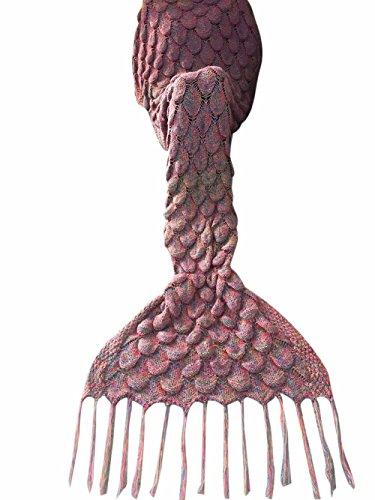 iiniim Meerjungfrau Decke Handgemachte Gestrickte Meerjungfrau Schwanz Decke Schlafsack Kuscheldecke Sofadecke Cosplay Kostüm für Erwachsene Dunkel Braun Einheitsgröße