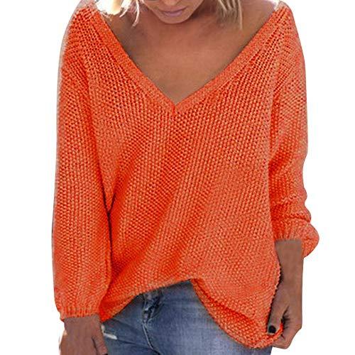 Herbst Winter Strickpullove Damen mit V-Ausschnitt Pullover Große Größe,Oversize Sweater Lose Langarm Bluse Oberteile URIBAKY -