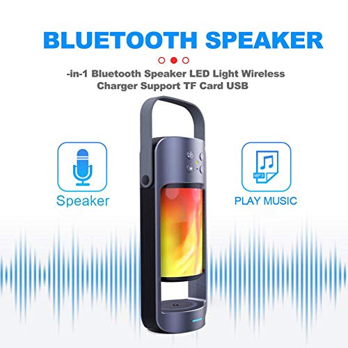 lingzhuo-shop Smart Bluetooth-Lautsprecher 3 in 1 LED-Licht Wireless Charger Support TF-Karte USB - Natürliche Energie Pille