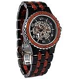Wilds Herren Uhren Analog Automatik Uhrwerk mit Holz Armband, Revolution