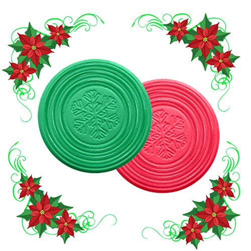 Christmas Coaster Metric USA 4 inches Set of 6 Green and Red Drink Coasters ABSORBS MOISTURE Ideal for Christmas Stocking Stuffers Holiday Gifts