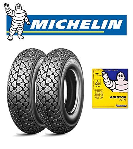 Paire pneus Michelin s83 pour aprilia amico 50 gL avec chambres d'air Michelin mesure : 100/90 – 10 56J dOT 2016