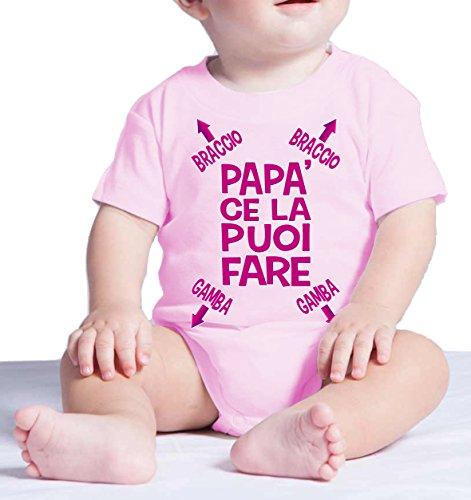 Body neonato divertente PAPA' CE LA PUOI FARE - pagliaccetto umoristico 100% cotone JHK_Fermento Italia (3 MESI Neonato, Rosa)