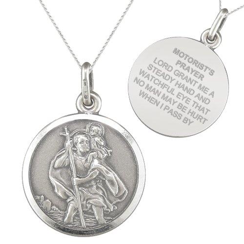 St Christophers Motorist's Prayer Sterling Silver Necklace