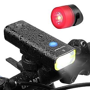 Sunspeed LED luz bicicleta faro con Trasera libre USB Recargable Super Bright 400 Lúmenes 3W CREE LED, IPX3 Impermeable bicicleta faro con luz trasera libre,Fácil de Instalar Linterna para Ciclismo de Montaña de Carretera Ciudad de Desplazamiento