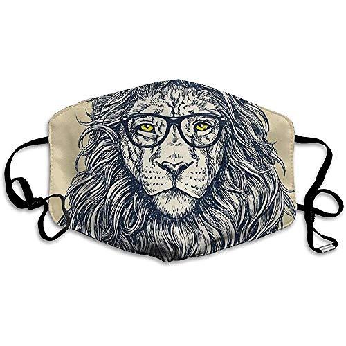 Maschere per la bocca unisex Premium Hipster Lion con occhiali Maschera per motocicletta in poliestere antipolvere anti inquinamento riutilizzab