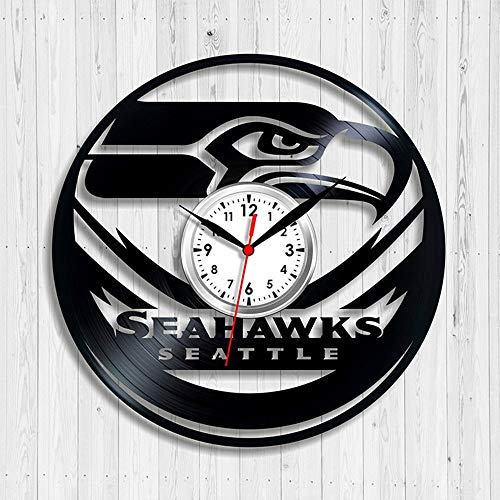 upnanren Vinyl Wanduhr Vinyl Wanduhr Seattle Seahawks Fußball Kreative Uhr Wandkarte