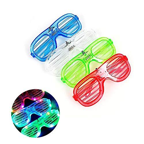 LED Luminous Glasses Shutters, Flashing Neon Glasses, geeignet für Abschlussfeier, Bar Nachtclub Weihnachten Geburtstagsgeschenk, Erwachsene Kinder (12er Pack),White