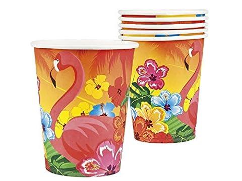 Lot de 6 gobelets en carton d'une contenance de 25cl Couleur exotique (52520) flamant rose et fleurs hibiscus multicolor Très jolis verres tropicale en carton pour la décoration de la table d'anniversaire ambiance beach party