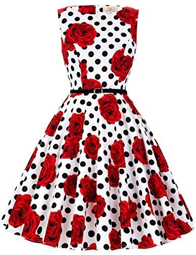 Grace karin donne vestiti estivi vintage linea ad a casual cocktail vestito cotone it6086 (small, floral-36)