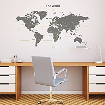 Decowall dl 1509g modern grey world map kids wall stickers wall decowall dl 1509g modern grey world map kids wall stickers wall decals peel and stick publicscrutiny Image collections