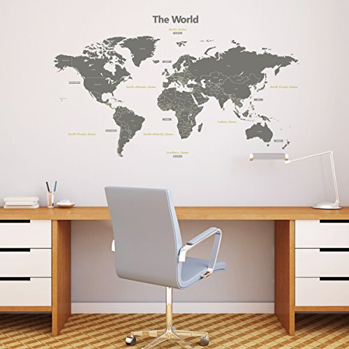 Decowall DMT-1509G Modern Grey World Map Kids Wall Stickers Wall Decals Peel and Stick Removable Wall Stickers for Kids Nursery Bedroom Living Room (Large)