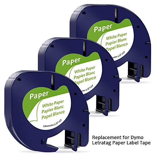 3x Kompatibel Dymo Letratag Etikettenband 91220/S0721520 Papierband, 10697 Papieretiketten (Dymo Letratag 12mm x 4m paper white)für Dymo LetraTag LT-100H LT-100T QX50 XR XM 2000 Plus schwarz auf weiß