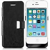 kwmobile Powerbank Akku Case Hülle für Apple iPhone 4 / 4S - Cover Schutzhülle mit 1800mAh Batterie in Schwarz