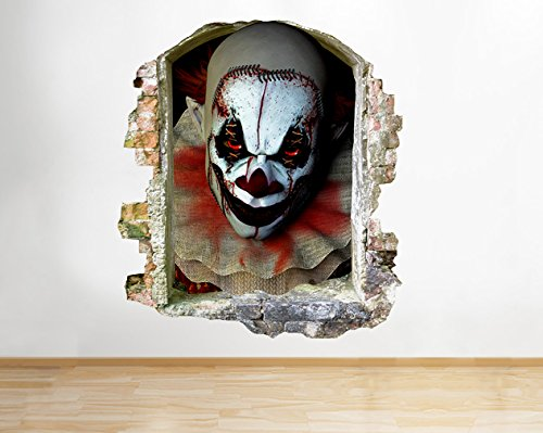 own Horror Scary Movie Cool Fenster Wandbild Aufkleber 3D Kunst Aufkleber Vinyl Raum (Scary Movie Clown)