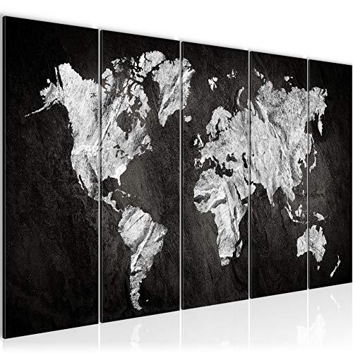 Bilder Weltkarte 200 x 80 cm Bild World Map Wandbild Vlies - Leinwand Bild XXL Format Wandbilder Wohnzimmer Wohnung Deko Kunstdrucke Schwarz Weiß 5 Teilig MADE IN GERMANY Fertig zum Aufhängen 002955a