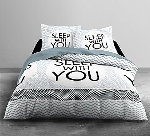Today HC3 Coton 57 Fils Enjoy Home Sleep Home Parure de Lit 2 Personnes Enjoy Dessin sleep with you Housse de Couette 220x240 cm + 2 Taies D'oreiller 63x63cm Coton Blanc/Gris/noir
