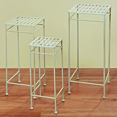 Beistelltisch Tisch Vito weiß eckig L30cm Eisentisch Gartentisch Pflanztisch