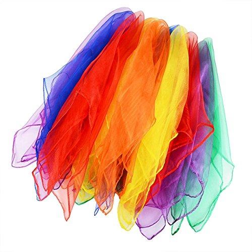Lalang 12 x Tanz und Jongliertücher Gymnastiktücher Tanztücher Chiffon 6 Farben (Einfach Waschmaschine Kostüm)