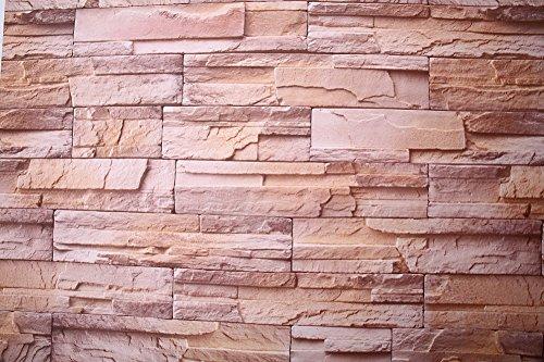 Brown Faux Textur Wallpaper (7buy einfach abziehen und aufkleben 61x 495,3cm Moderner puristischer Faux Stein PVC Stein Tapete Wasserdicht Abnehmbare Wand Decor Krone Brown/Yellow)