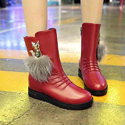 Longra Chaussures Pour Femmes En Peluche Et En Peluche Avec Peluche Décoration En Velours Intérieur À Fond Plat Bottes De Neige Chaudes Bottes Martin Vin Rouge