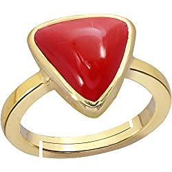 Gemorio Trikona Coral Moonga 4.8cts or 5.25ratti stone Panchdhatu Adjustable Ring For Women