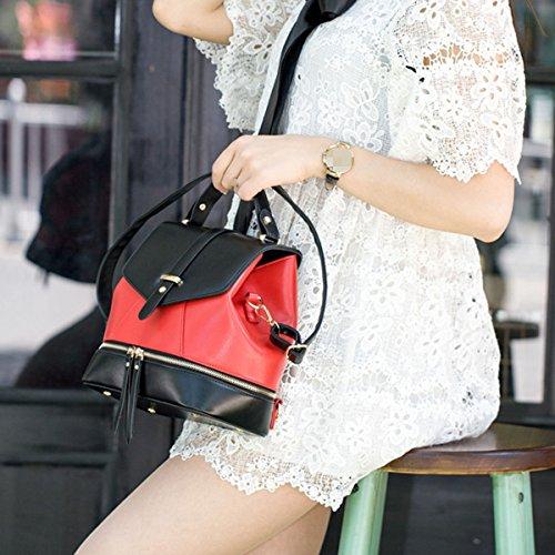 Zaino Collegio Mini Spalla Donne Signora Della Ragazza Di Corsa Di Modo Di Crossbody Bag Multicolor Red
