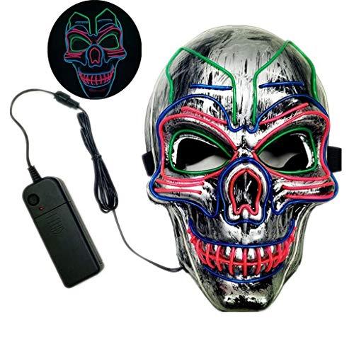 Me Furchterregende LED-Halloween-Maske, Leuchtmaske Cosplay, LED-Rave-Gesichtsmaske Kostüm 3 Beleuchtungsmodi, Halloween-Gesichtsmasken Für Männer, Frauen Und Kinder,25 * 16cm (Rave Kostüm Für Paare)
