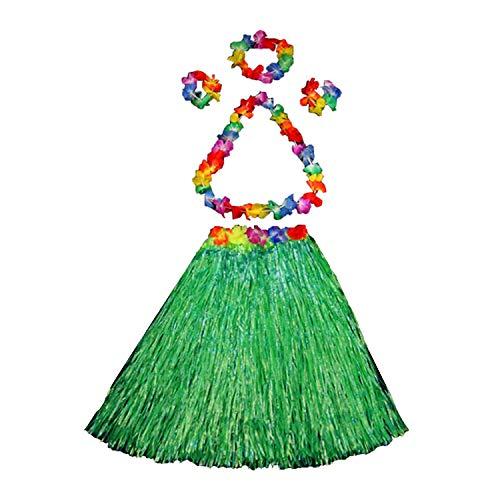 YASSON Damen Mädchen Rock Hawaii Hula Gras Rock Halloween Kostüm Partykleider Set Blumenkette Armband Halskette Stirnband Party Strand Tanzrock