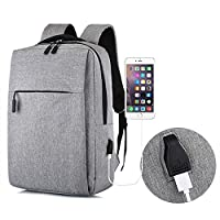 Yooap Travel Laptop Backpack, Travel Laptop Backpack Bag for Womens & Mens with USB Port, Waterproof School Rucksack for Women Men, Fits 15.6 Inch Laptop and Notebook(Grey)