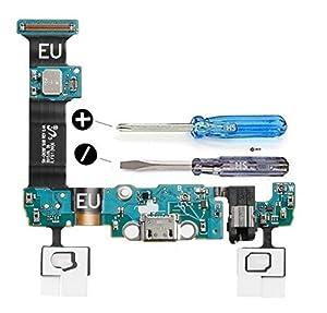 Dock Connector für Samsung Galaxy S6 Edge G925F Mikro USB Ladebuchse inkl. Mikrofon Audio Jack Sensor Taste Vormontiert mit selbstklebender Unterseite inkl 2 x Schraubenzieher für einfachere Installation MMOBIEL