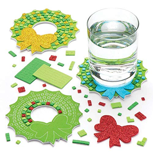 Baker Ross Christmas Wreath Mosaic Coaster Kits (Pack Of 6) For Kids Christmas Crafts And Decorations