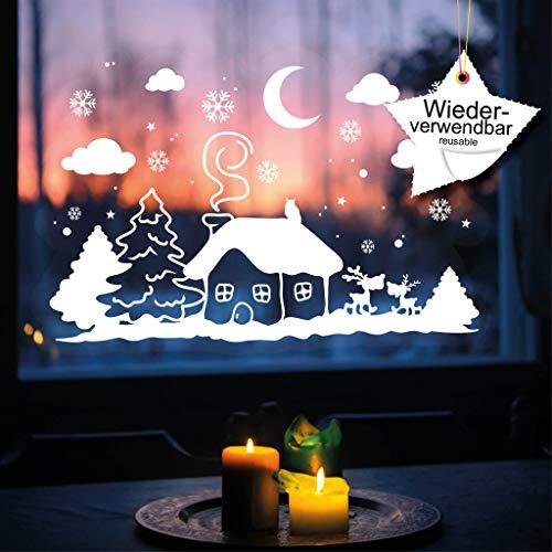 Wandtattoo-Loft Fensteraufkleber XL Winter Häuschen mit Elchen A3 WIEDERVERWENDBAR