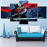 Mddrr Moderne Kunstwerk Wandkunst Bild 5 Stücke Anime Original Japanische Katana Schwert Poster Leinwand Malerei Wohnkultur Wohnzimmer