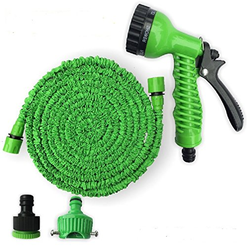 Flexible Magic Expandable Garden hose reels 100FT Car watering Pipe Plastic Garden Water Hose+Spray Gun (EU) Blue & Green (green) Test