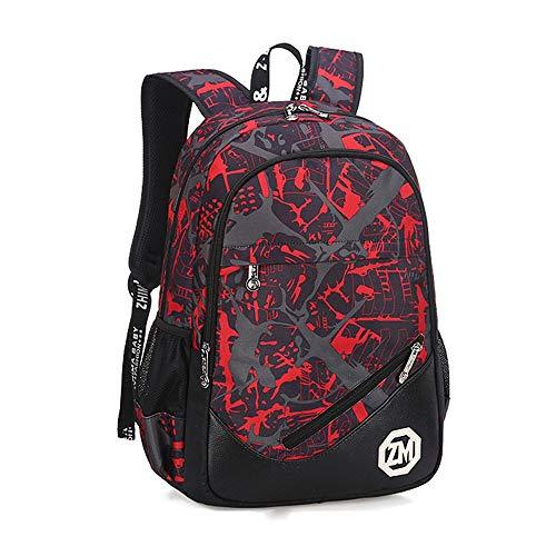 EXCLVEA-KB Kinderrucksack Wasserdichter Grundschulrucksack Bookbag für grundlegende Jungen-Mädchen-Reiserucksack-Daypack Kinder Tasche (Farbe : Rot, Größe : 48 * 34 * 16cm)